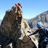Downclimbing Freya's west ridge.