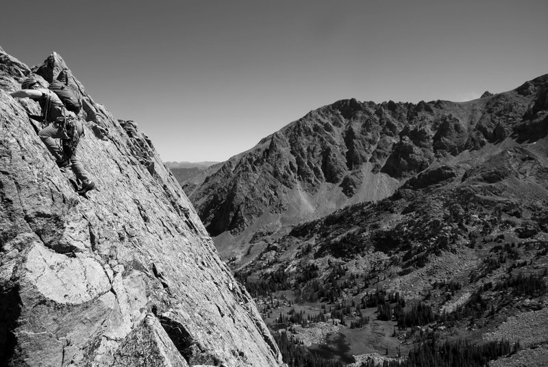Rock Climbing Photo: Ryan on a very exposed downclimb section of Freya&...