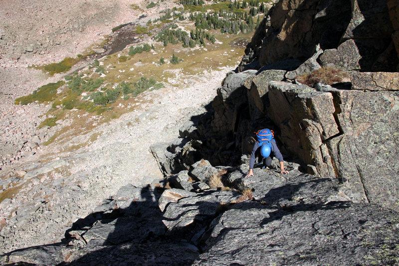 Mikey on an upclimb section of Freya&@POUND@39@SEMICOLON@s standard west ridge.