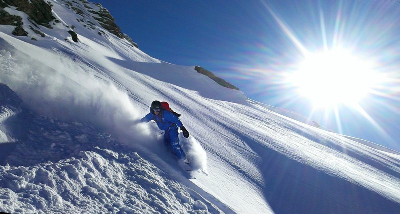 On my splitboard in the Valais. The only other tracks were from our previous lap : )