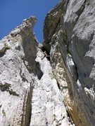 Rock Climbing Photo: Enjoying some multipitch limestone in Uri.  I lost...