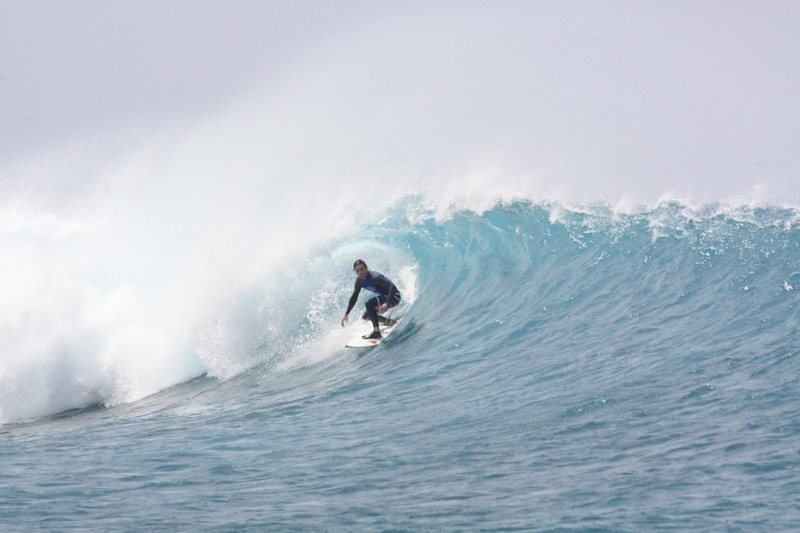 In the Maldives on a powerful backhander.