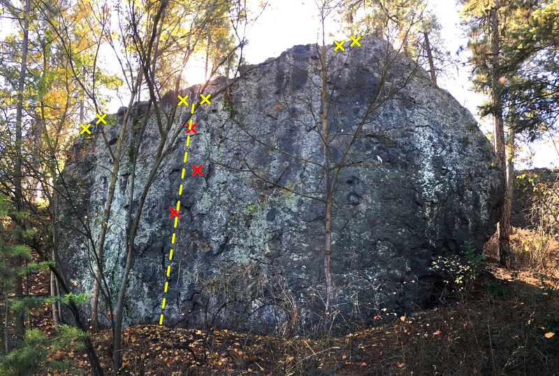 Secondary rock at Cliff Drive located a dozen paces north of the main wall.