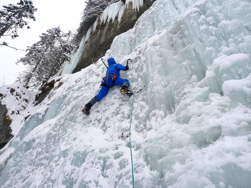 Rock Climbing Photo: In the Kiental on my first ice lead ever.