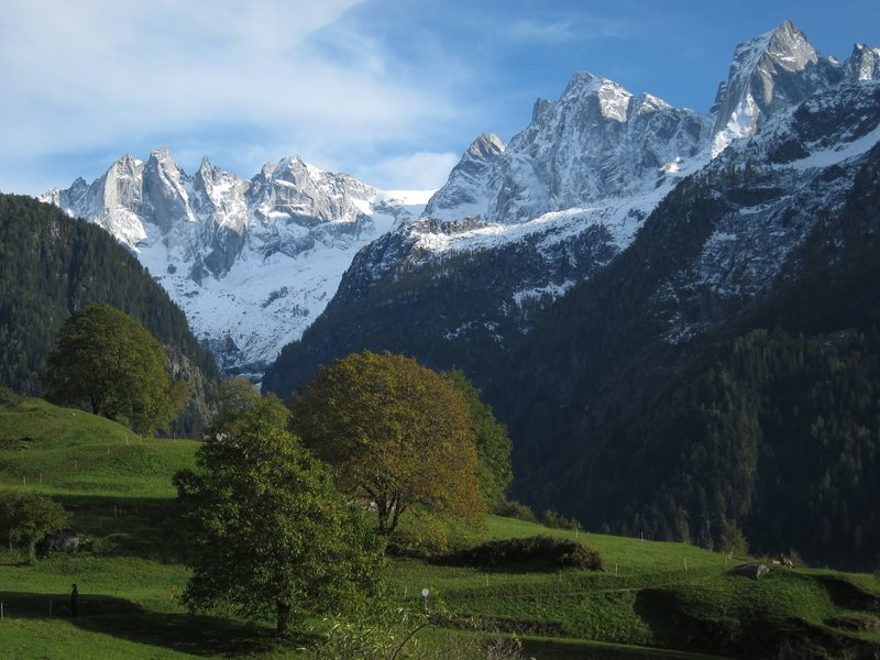 View of the Sciora group and Piz Badile while on a bike tour from Splügen to Chiavenna, Soglio, Sankt Moritz, the Albulapass, and ending in Thusis.