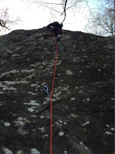 Rock Climbing Photo: Shae pulling the difficult short person beta.