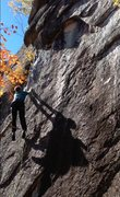 Rock Climbing Photo: Sticking the dynamic crux on the FA! Such a fun mo...
