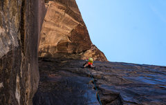 Rock Climbing Photo: Leading pitch 4.