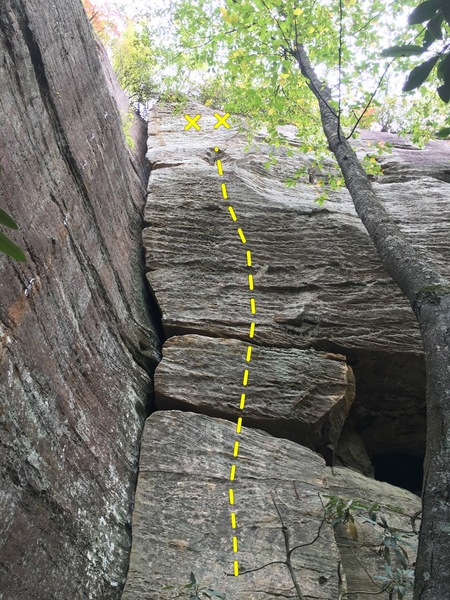 Start barely right of big crack