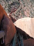 Rock Climbing Photo: Joe Stern following the crux pitch, January 2012