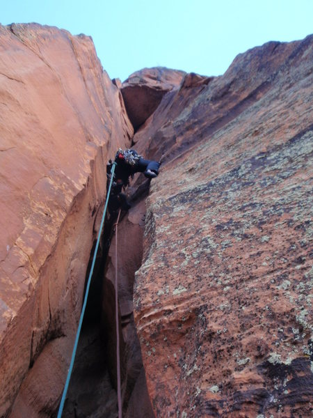 Joe Stern leading out on pitch 5 or 6, January 2012