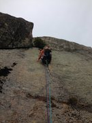 Rock Climbing Photo: Leslie A. starting up the pitch 1 finger crack of ...