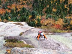 Rock Climbing Photo: Leslie A. on P2 (slab above the steep face) of Roc...