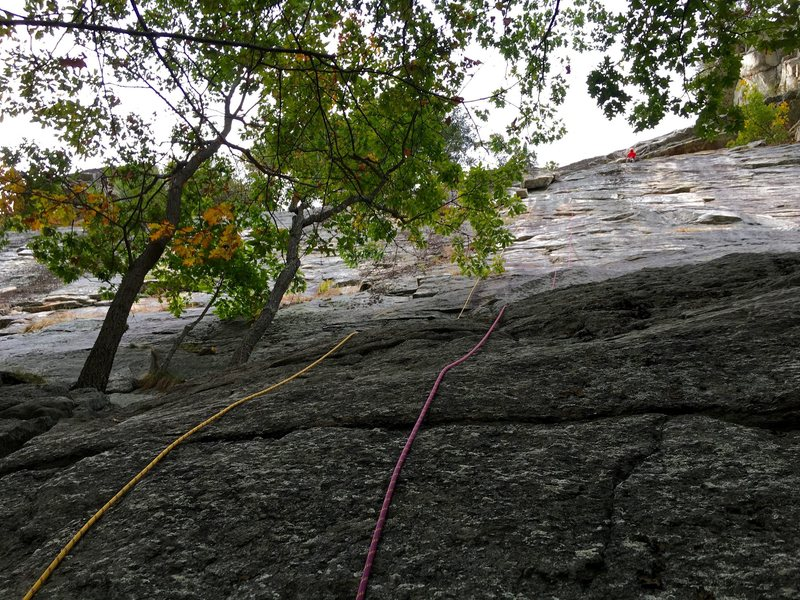 The first pitch of Limelight with double ropes. There was adequate pro along this line without having to go left to the giant flake until near the end. (Climber in red is starting pitch 2 of Arrow.)