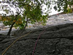 Rock Climbing Photo: The first pitch of Limelight with double ropes. Th...