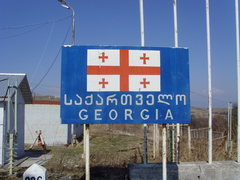 Rock Climbing Photo: Welcome to Georgia! The border between the route f...