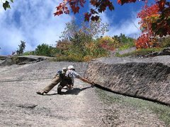 Rock Climbing Photo: Because the green lichen was wet and un-leadable t...
