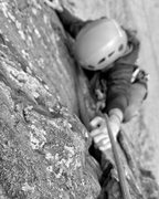 Rock Climbing Photo: Pulling the final move on the first pitch of the c...