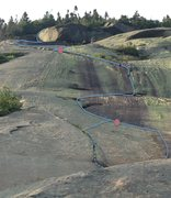 Rock Climbing Photo: The top half of p1, all of p2 and p3 are indicated...