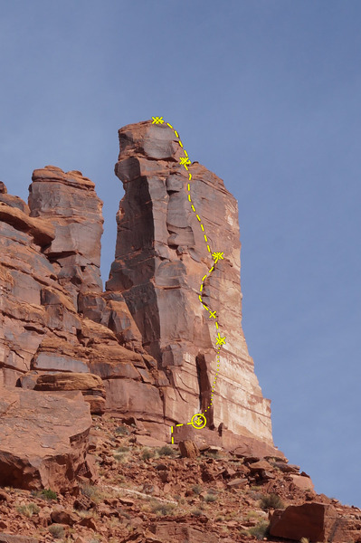 Route topo for Jah Man.<br> <br> A 70m makes it from the top of the chimney to the ground with room to spare.
