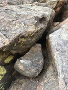 Rock Climbing Photo: Major loose block issue at Lookout Mtn. Crag. Do n...