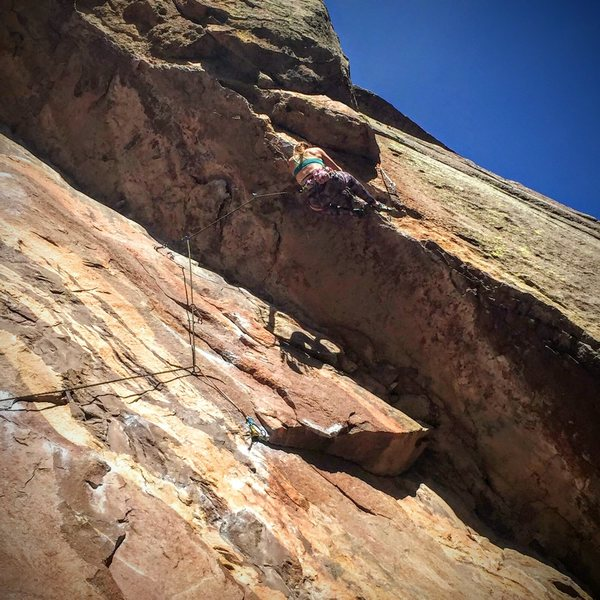 Rock Climbing Photo: Pulling the roof on first 5.11 lead.