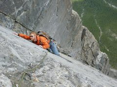 Rock Climbing Photo: Climbing the NE Buttress of Ha-Ling Peak, Canadian...