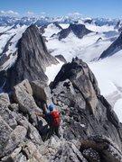 Rock Climbing Photo: Climbing the Kain Route, Bugaboo Spire, Canadian R...