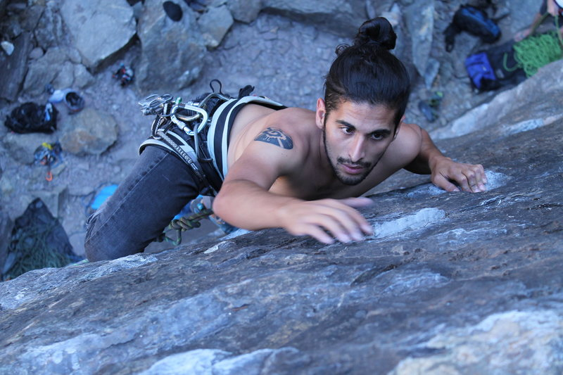 Rock Climbing Photo: Alejandro using the great crimps near the top of t...