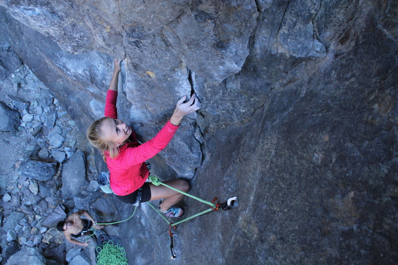 Libby always all smiles on what is a perfect warm up in Horseshoe Canyon.