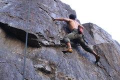 Rock Climbing Photo: Erick top roping a wonderful crimpy face.