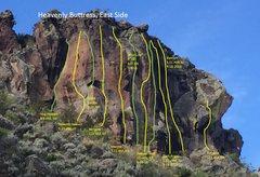 Rock Climbing Photo: Route Topos.  Yellow = sport climbs Green = trad