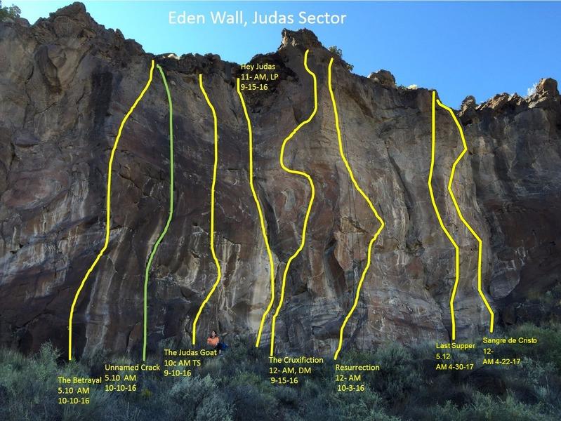 Topos of Judas Crag Right<br> <br> Green = trad