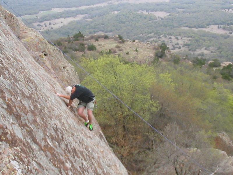 Rock Climbing Photo: John Barritt on upper section 2006