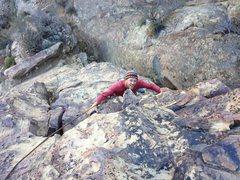 Rock Climbing Photo: Greg Levine having fun on the super exposed Ration...
