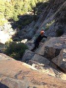 Rock Climbing Photo: Alex Barnett nears the top of Blue In Green