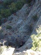 Rock Climbing Photo: Alex Barnett leading Blue In Green