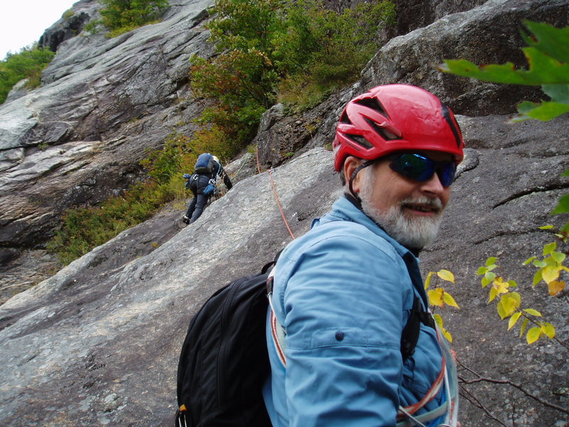 Photo@POUND@2 - S Matz on the P2 traverse while RW smiles for the camera
