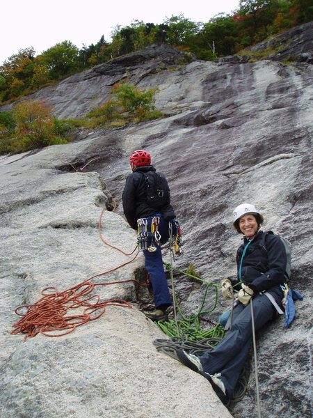"Photo#5 - Belay at the end of P3 (in the ""groove/crack"")"