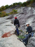 """Rock Climbing Photo: Photo#5 - Belay at the end of P3 (in the """"gro..."""