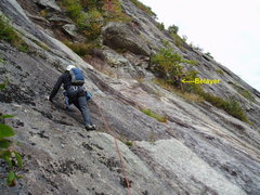 Rock Climbing Photo: Photo#8 - S Matz making the traverse on P5