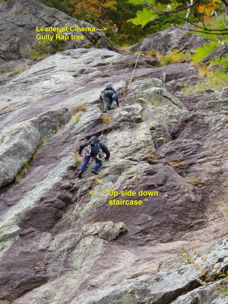 Rock Climbing Photo: Photo#9 - Pitch 6 the long pitch up to the Big Tre...