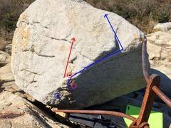 Rock Climbing Photo: Blue- Get on Deck Red- Pocket Problem
