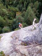 Rock Climbing Photo: Lisa Cruisin' up the finger crack.