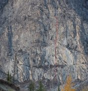 Rock Climbing Photo: Route topo line only