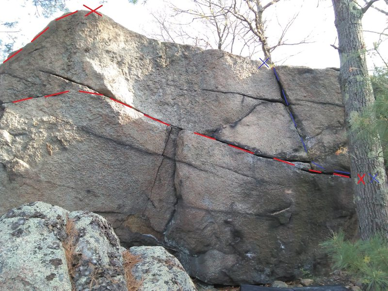 Crackatoa (V4) is drawn in red. Crazy Fingers (V2) is drawn in blue. The start for both routes is obscured by the tree.