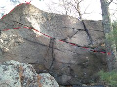 Rock Climbing Photo: Crackatoa (V4) is drawn in red. Crazy Fingers (V2)...