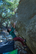 Rock Climbing Photo: Yuling toe hooking the start jug.
