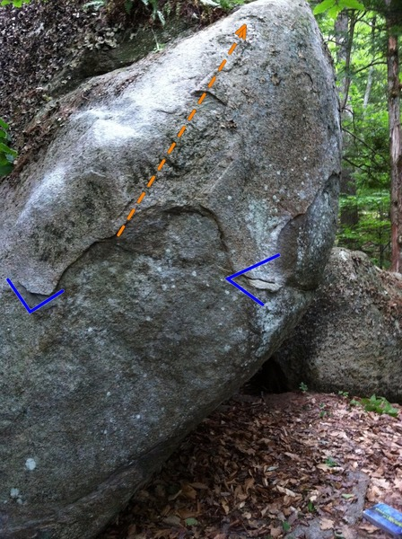 Rock Climbing Photo: The line with start and direction shown