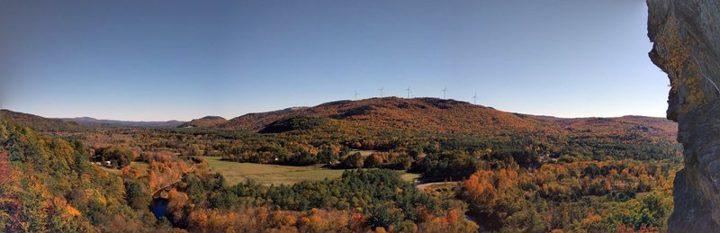 The is the view that awaits you in the fall at the belay ledge during peak foliage.   Just spectacular!